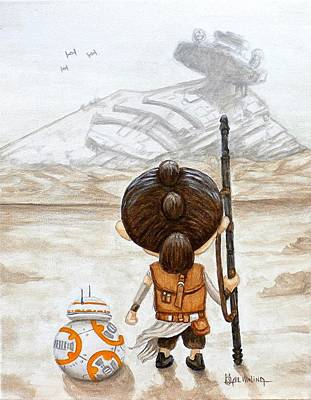 Rey With Bb8 Poster by Al  Molina