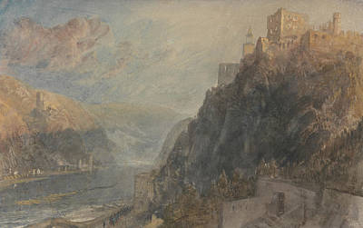 Rheinfels Looking To Katz And Gourhausen Poster by Joseph Mallord William Turner