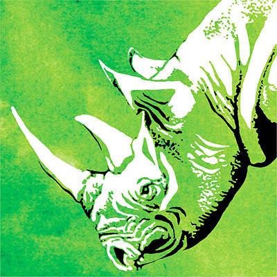 Rhino Animal Decorative Green Poster 1 - By Diana Van Poster