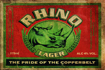 Poster featuring the digital art Rhino Lager by Greg Sharpe