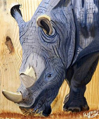 Rhino On Wood Poster by Debbie LaFrance