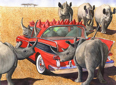 Rhinos Red Rambler Poster by Catherine G McElroy