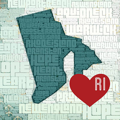 Rhode Island Cities Poster by Brandi Fitzgerald