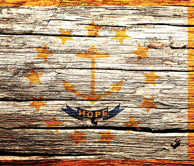 Rhode Island State Flag 2w Poster by Brian Reaves