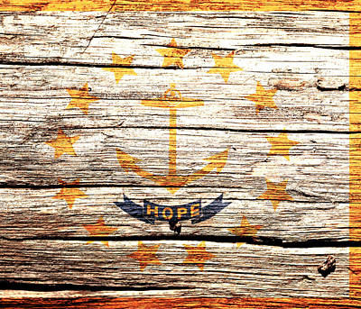 Rhode Island State Flag 3w Poster by Brian Reaves
