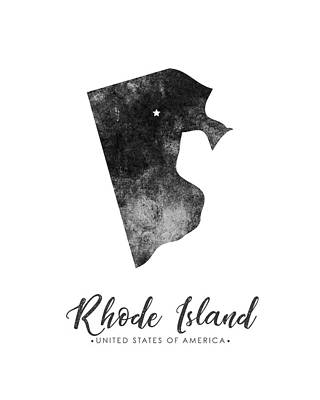 Rhode Island State Map Art - Grunge Silhouette Poster