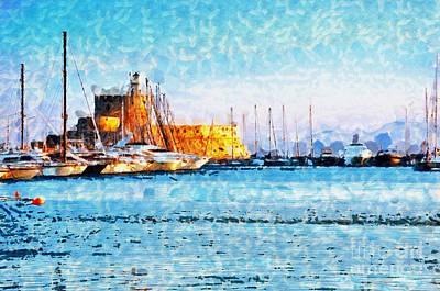 Rhodes Fort In Sunlight Poster by Magomed Magomedagaev