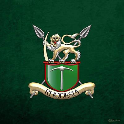 Rhodesian Army Emblem Over Green Velvet Poster by Serge Averbukh
