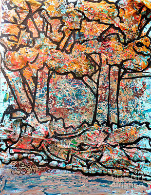 Poster featuring the mixed media Rhythm Of The Forest by Genevieve Esson