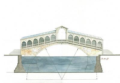 Rialto Bridge Venice Poster by Juan Bosco