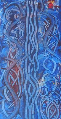 Ribbons Of Bleu Poster by Karen Lillard