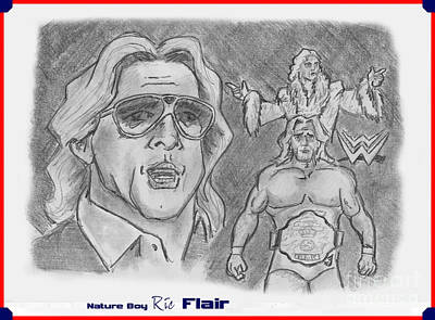 Poster featuring the drawing Ric Flair -the Nature Boy by Chris  DelVecchio