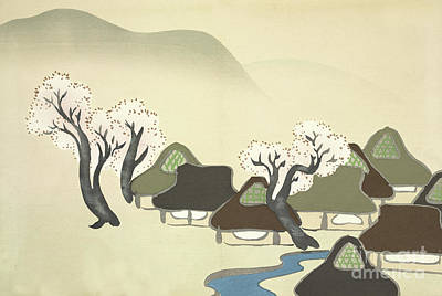 Rice Paddies And Houses In Spring Poster