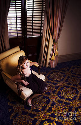 Rich Wealthy Woman Sitting In Upmarket Hotel  Poster by Jorgo Photography - Wall Art Gallery