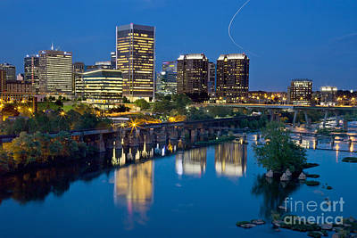 Poster featuring the photograph Richmond Skyline Helo Trail by Jemmy Archer