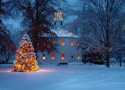 Richmond Vermont Round Church At Christmas Poster