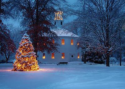 Richmond Vermont Round Church At Christmas Poster