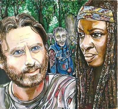 Richonne And 3 Zombies Poster