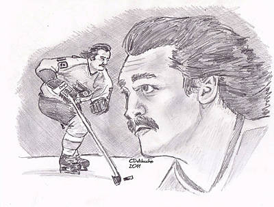Poster featuring the drawing Rick Macleish 50 by Chris  DelVecchio