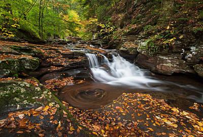 Ricketts Glen State Park Pennsylvania Autumn Waterfall Scenic Poster by Mark VanDyke