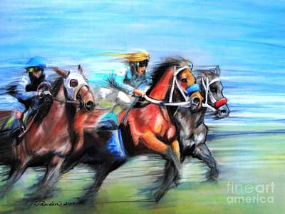 Poster featuring the painting Ride Like The Wind by Patricia L Davidson
