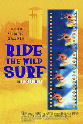 Ride The Wild Surf Vintage Movie Poster Poster by Ron Regalado