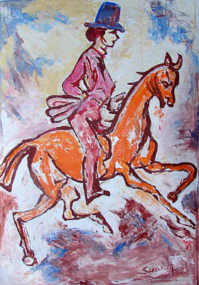 Poster featuring the painting Rider And Horse by Anand Swaroop Manchiraju
