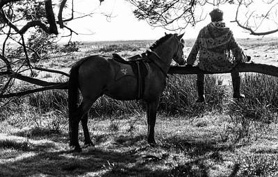 Poster featuring the photograph Rider And Horse Taking Break by Pradeep Raja Prints