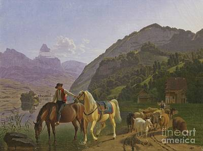 Rider With Two Horses And Herd Poster by MotionAge Designs
