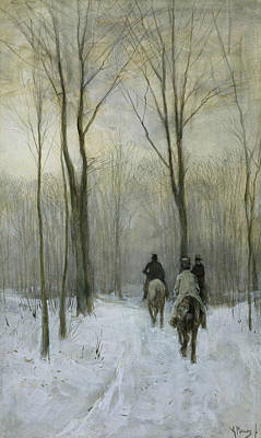 Riders In The Snow In The Hague Forest Poster by Anton Mauve