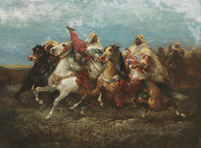 Riding Arab With Entourage Poster by Adolf Schreyer