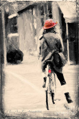 Riding My Bicycle In A Red Hat Poster