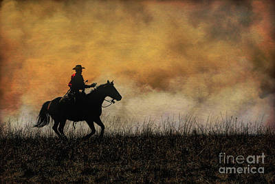 Riding The Fire Line Poster by Lynn Sprowl