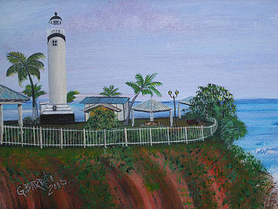 Rincon's Lighthouse Poster by Gloria E Barreto-Rodriguez