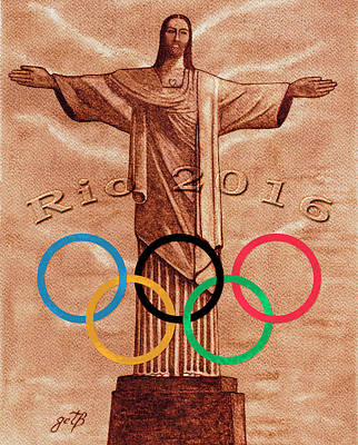 Poster featuring the painting Rio 2016 Christ The Redeemer Statue Artwork by Georgeta Blanaru