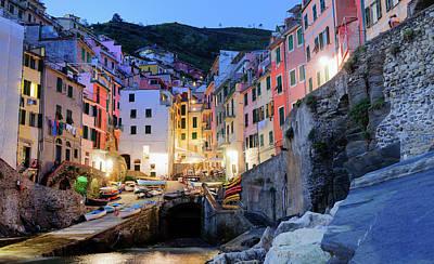 Riomaggiore, Cinque Terre At Night Liguria Italy Poster