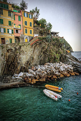 Riomaggiore Cinque Terre Italy Morning Poster by Joan Carroll