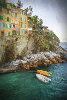 Riomaggiore Cinque Terre Italy Morning Painterly Poster by Joan Carroll