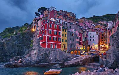 Riomaggiore In Cinque Terre Italy Painterly Poster by Joan Carroll