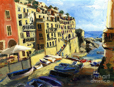 Riomaggiore Italy Late Afternoon Poster by Randy Sprout