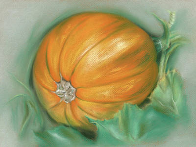 Poster featuring the pastel Ripening Pumpkin On The Vine by MM Anderson