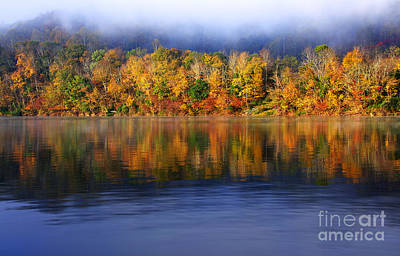 Rising Fog Fall Color Poster
