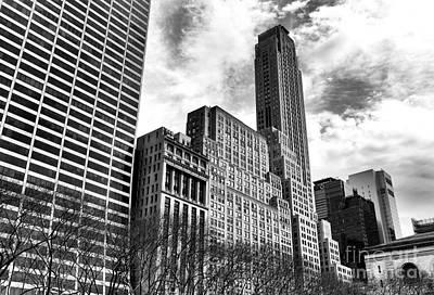 Rising In Manhattan Mono Poster by John Rizzuto