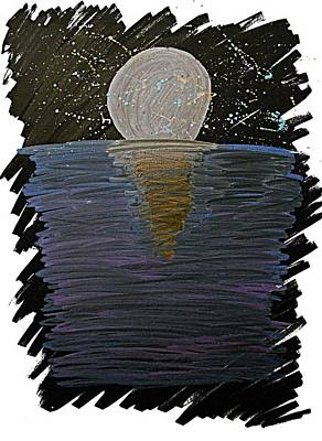 Poster featuring the drawing Rising Moon by Bee-Bee Deigner