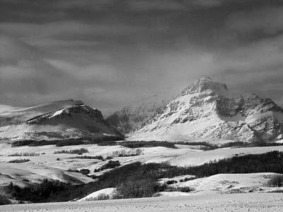Rising Wolf Mountain- Winter - Black And White Poster
