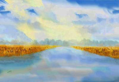 Poster featuring the painting River Blue by Valerie Anne Kelly