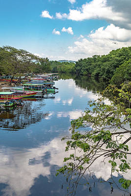 River Boats Docked In Negril, Jamaica Poster