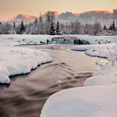 River Covered With Snow At Winter Poster by Ingólfur Bjargmundsson