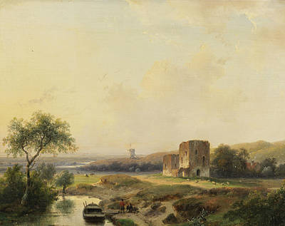 River Landscape Near Haarlem With Windmill And The Ruins Of Brederode Poster by Andreas Schelfhout