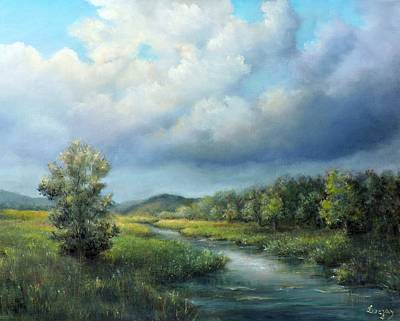 Poster featuring the painting River Landscape Spring After The Rain by Katalin Luczay